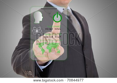 technology access for security or identification.Hand with digital scanner.