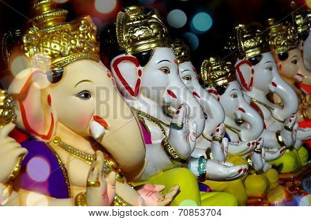 Ganesha Idols With Different Moods And Poses For Sale During Ganesha Festival In India