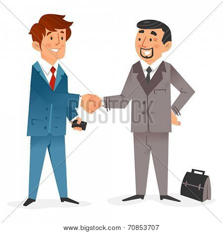 Flat design of a happy modern  businessman with smartphone closing a deal with another  businessman with a brief case