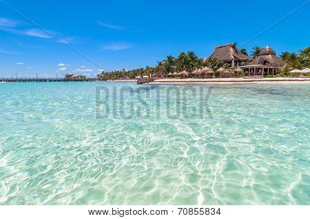 tropical sea and beach in Isla Mujeres, Mexico