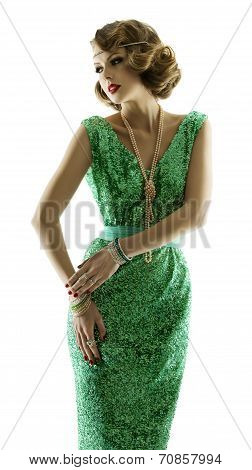 Woman retro portrait in fashion sparkle sequin dress elegant vintage style girl in evening gown isolated on white background poster