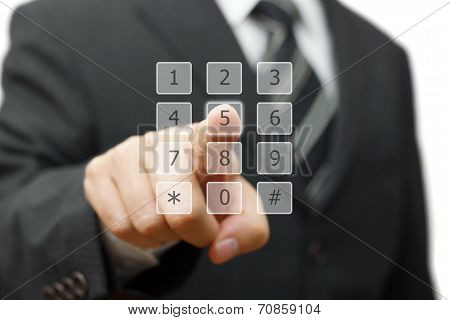 Businessman Is Dialing On Virtual Telephone Keypad