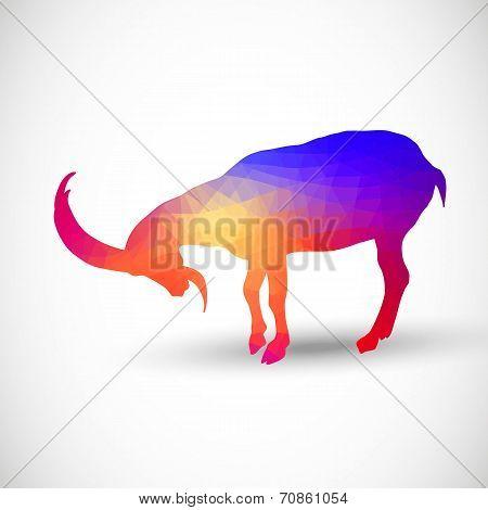 Geometric silhouettes animals Goat, Ibexes