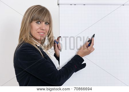 Woman Is Drawing On A Flip Chart