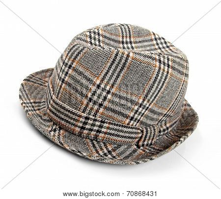 Grey Checked Trilby Hat Isolated On A White
