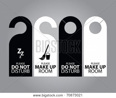 Two Side Black And White Door Hanger Tags For Room In Hotel Or Resort