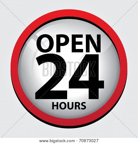 24 Hours Open Glass Sign With Red Border
