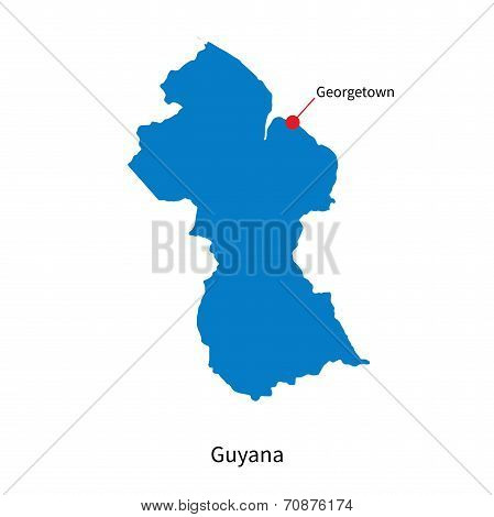 Detailed vector map of Guyana and capital city Georgetown