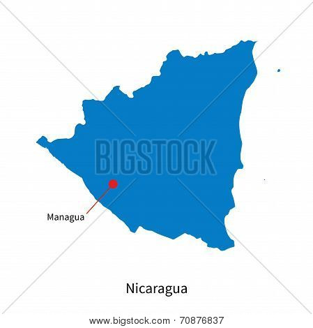Detailed vector map of Nicaragua and capital city Managua