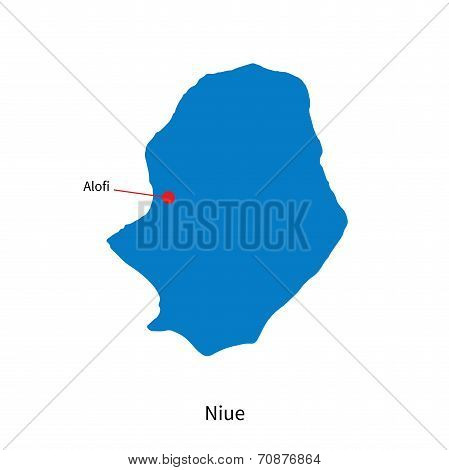 Detailed vector map of Niue and capital city Alofi poster