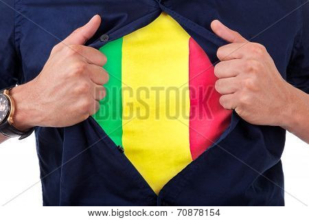 Young Sport Fan Opening His Shirt And Showing The Flag His Country Mali, Malian Flag