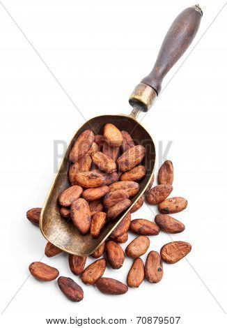 Retro Scoop With Cocoa Beans Isolated On White