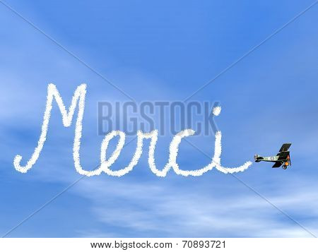 Merci, french thank you message, from biplane smoke in blue sky - 3D render poster