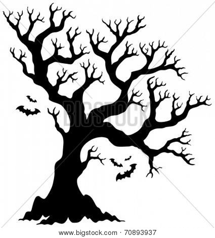 Silhouette Halloween tree with bats - eps10 vector illustration.