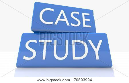 3d render blue box with text Case Study on it on white background with reflection poster