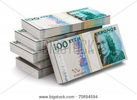 Stacks of 100 Swedish krones