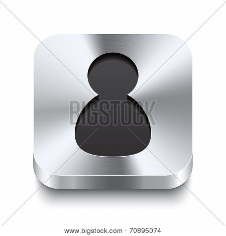 Square Metal Button Perspektive - User Icon