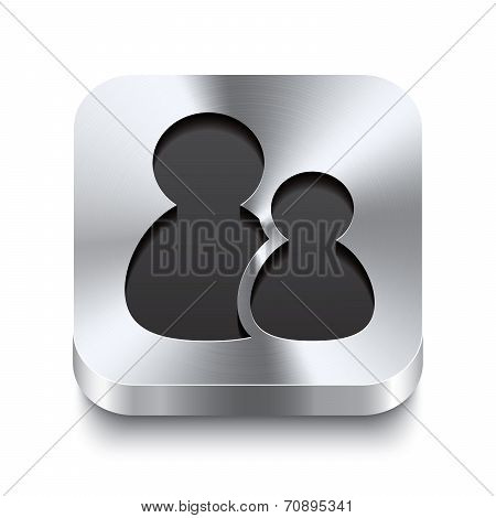 Square Metal Button Perspektive - Users Icon