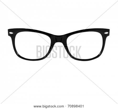 closeup of a black plastic rimmed eyeglasses on a white background