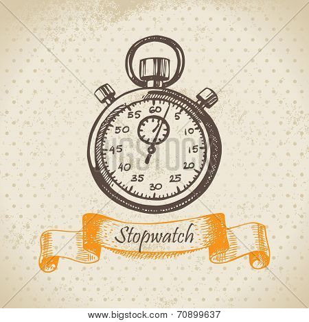 Stopwatch. Hand drawn illustration