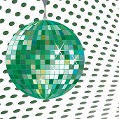 green disco ball, abstract vector art illustration poster