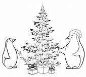 Antarctic emperor penguins decorate the Christmas tree, contours. Vector poster