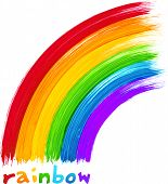 Acrylic bright colors painted rainbow, vector image poster