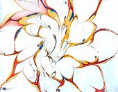 An abstract flower done by the traditional marbling process in bright colors with wide open petals. poster