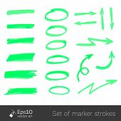 Color strokes and arrows drawn with markers. Stylish elements for your design. Vector poster