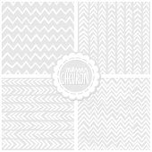 Set of white and gray monochrome messy chevron backgrounds with round sticker poster