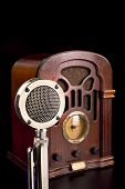 Old antique radio and old chrome microphone. poster