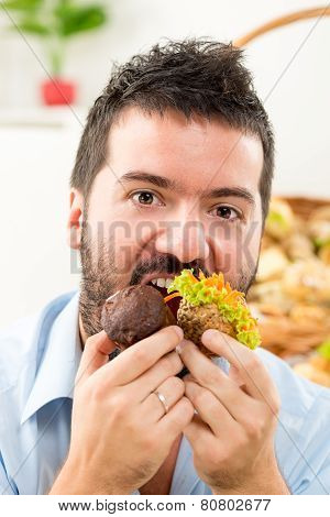Hungry Man Eating