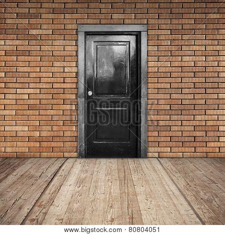 Red Brick Wall, Black Door And Wooden Floor
