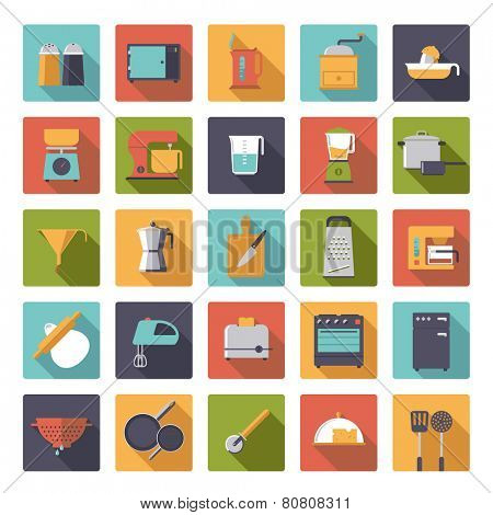 Flat Design Cooking Appliances Vector Icons Collection. Set of 25 kitchen and cooking related icons in rounded squares.