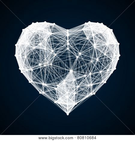 White Heart made from lines and dots on black background