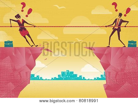 Businessman And Businesswoman In Tug Of War On Clifftop.
