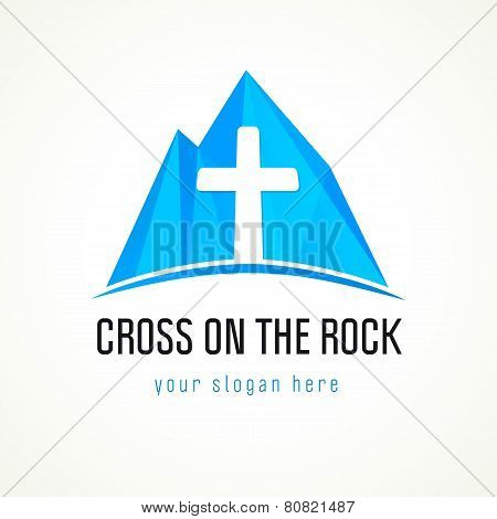 Church in mountains vector logo. Cross and blue rock sign. Christian mission on high places or ski resort and hotels symbol. Icy mount abstract icon.