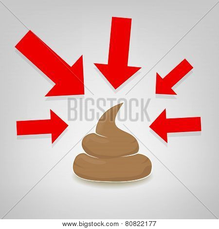 Poo Illustration With Red Arrows Pointing At It, Vector