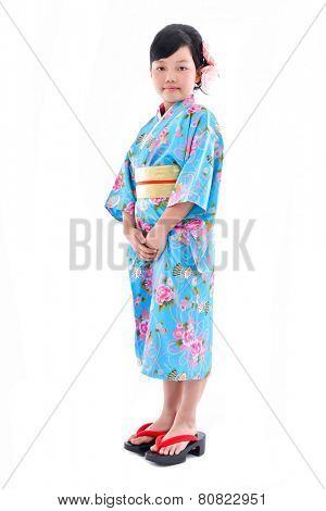 Full body portrait of girl wearing a kimono on white background
