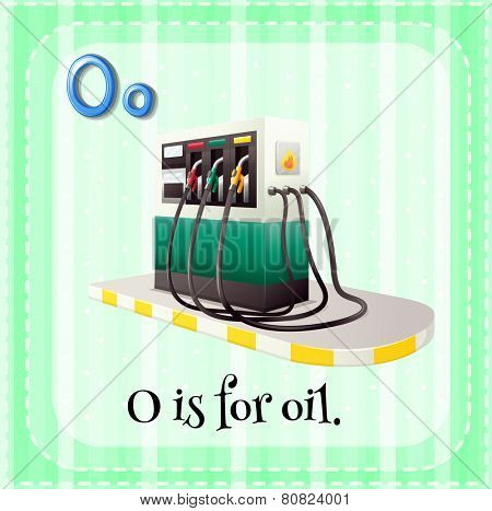 Illustration of a letter O is for oil