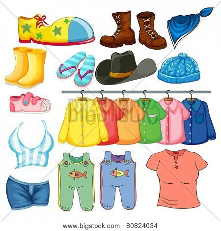 Illustration of different design of clothes