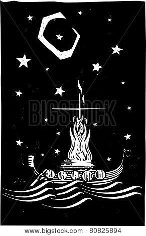 Viking Funeral At Night