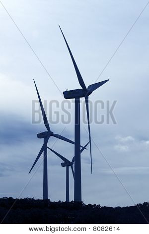 Aerogenerator Electric Windmill Cloudy Sky View