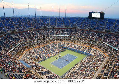 Arthur Ashe Stadium during US Open 2014 night match at Billie Jean King National Tennis Center