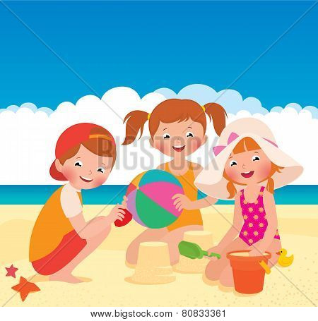 Three Friends Playing On The Beach