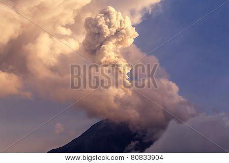 Powerful Explosion Of Tungurahua At Sunset, Ecuador, South America