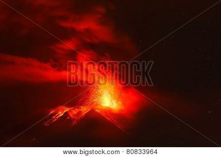 Powerful Explosion Of Tungurahua Volcano At Night, Ecuador