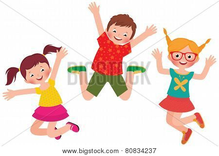 Happy Children Jumping Isolated On White Background