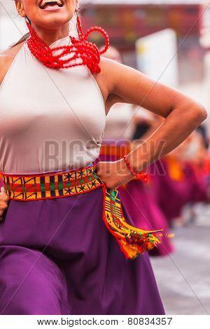 Banos, Ecuador - 30 November 2014:Traditional folk costume,  Ecuador, South America, In Banos On November 30, 2014
