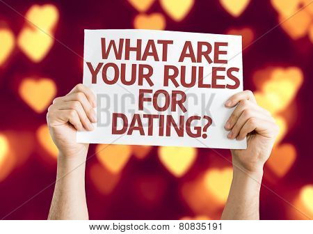 What are your Rules for Dating? card with heart bokeh background